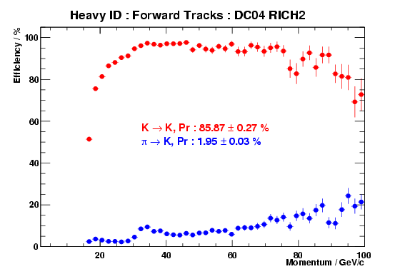 RICH Heavy ID performance for RICH2 only, forward tracks in DC04