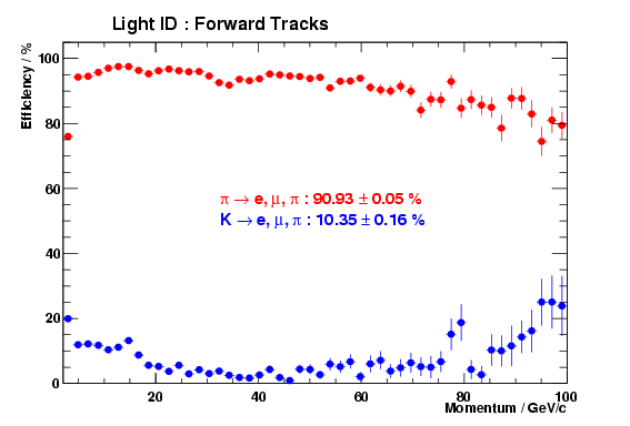 Rich Light PID performance versus momentum for forward tracks in DC04