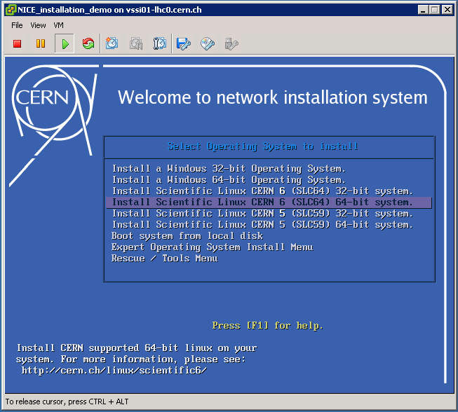 Menu of NICE installation system