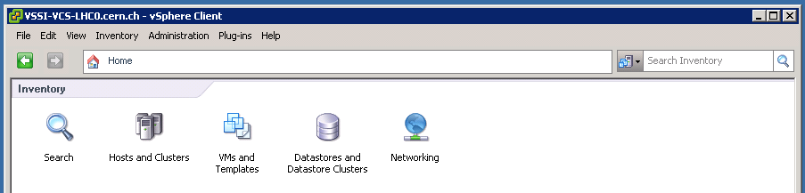 vSphere Client Home: Inventory Icons