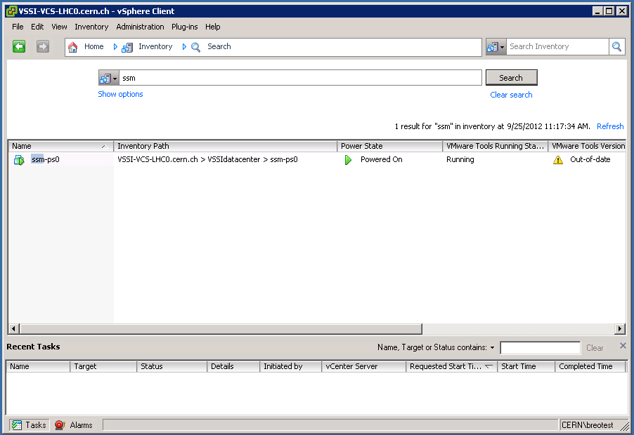 vSphere Client: Search (limited user view)