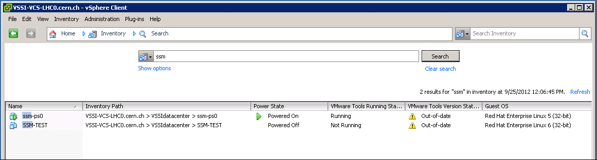 vSphere Client: Search (administrator user view)