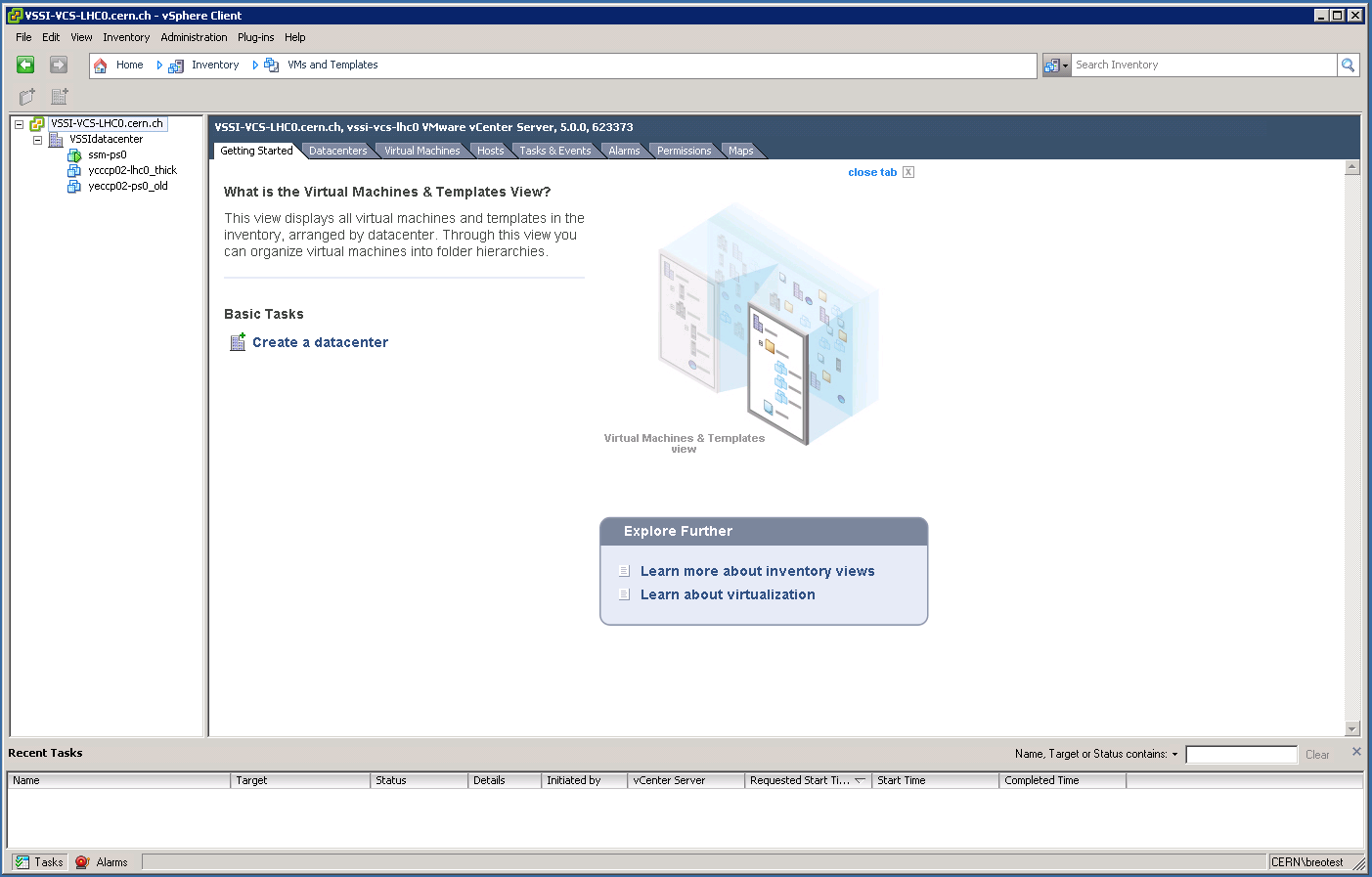 vSphere Client: VMs and Templates