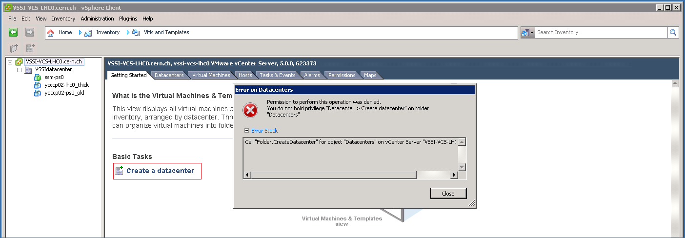 vSphere Client: VMs and Templates, cannot create a datacenter as normal user