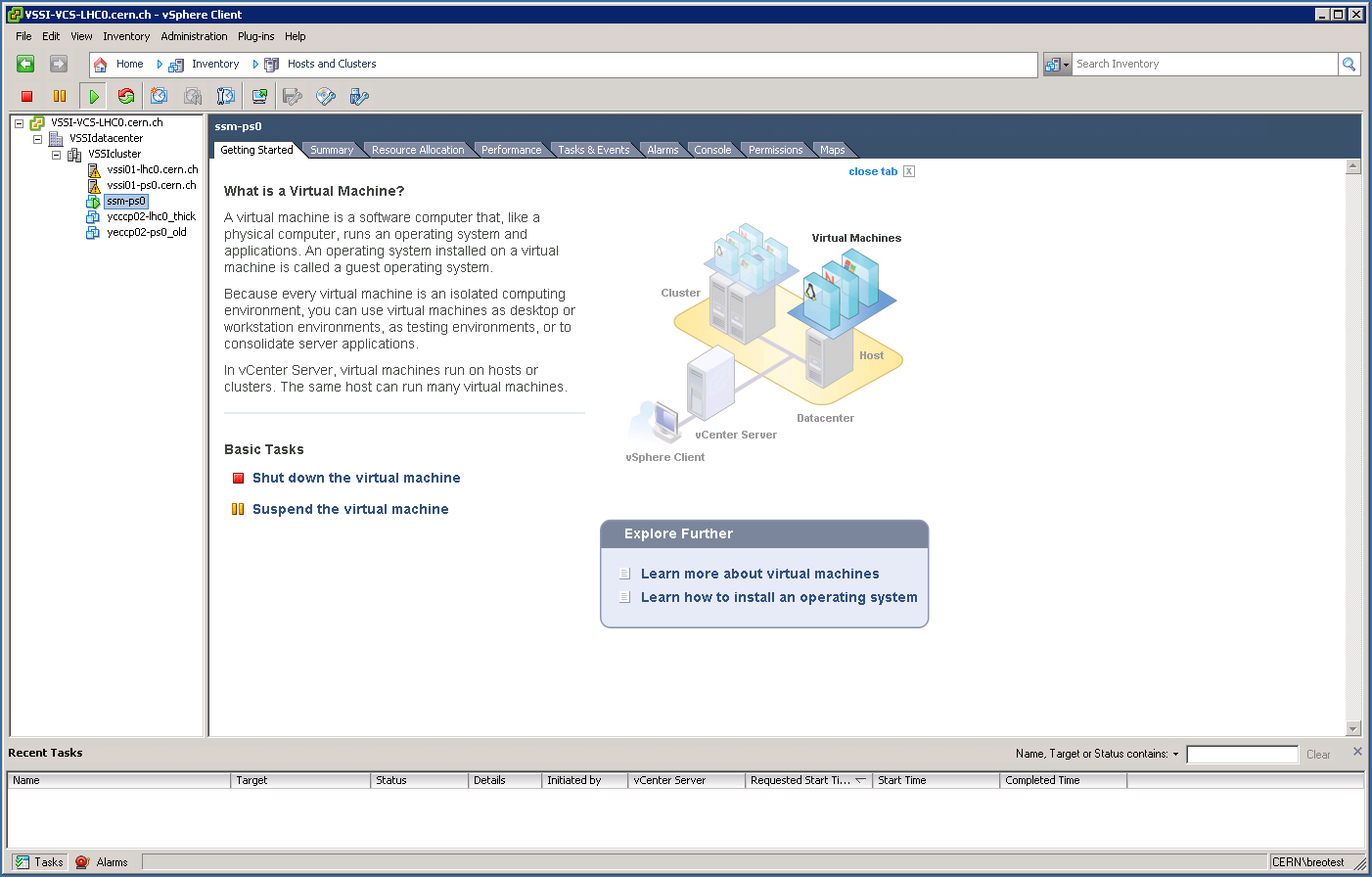 vSphere Client:  Hosts and Clusters
