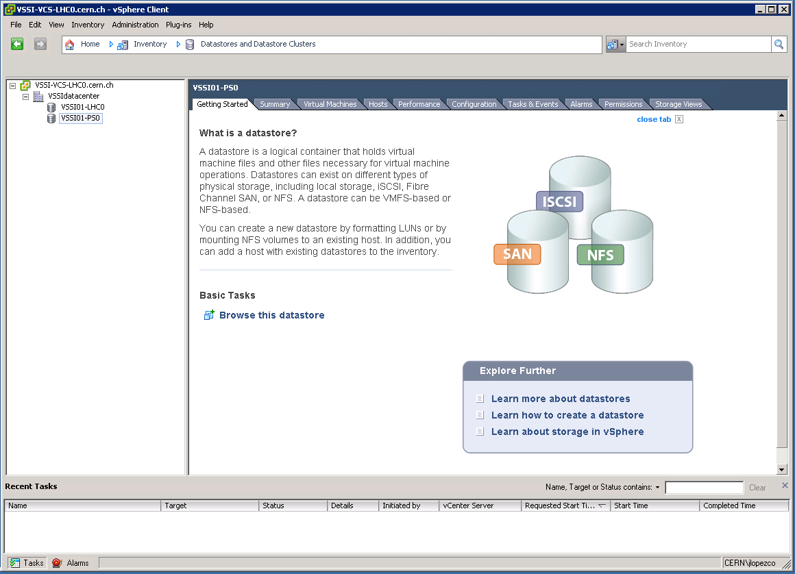 vSphere Client:  Datastores and Datastore Clusters