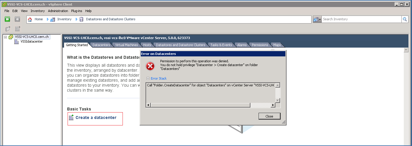 vSphere Client:  Datastores and Datastore Clusters as limited user