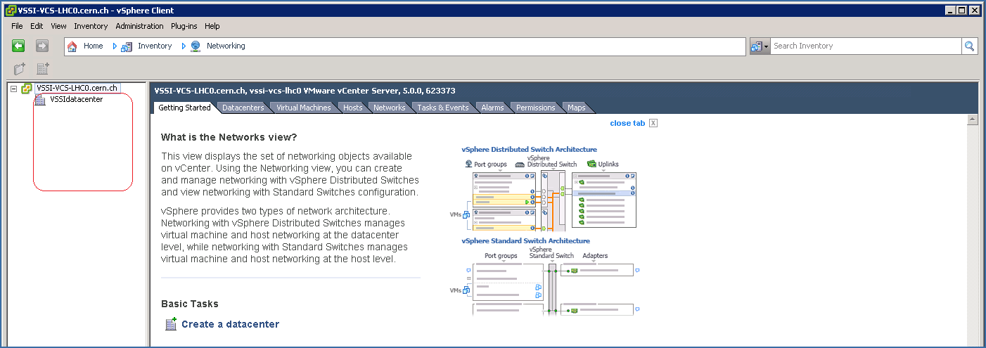 vSphere Client:  Networking (normal user view)