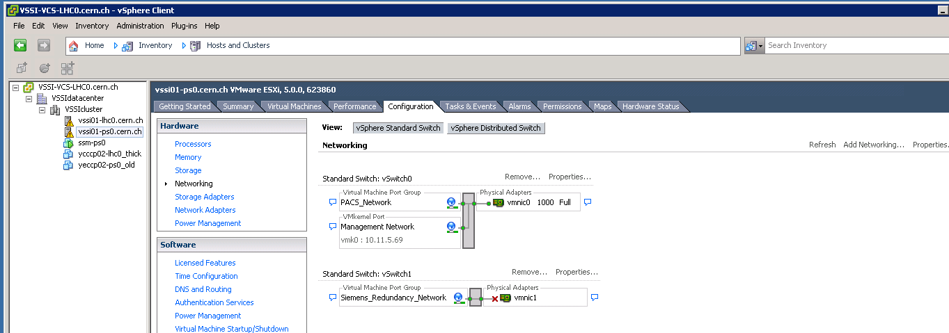 vSphere Client, Networking: Virtual Switchs