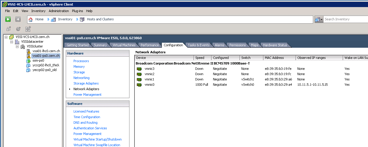 vSphere Client, Networking: Physical Adapters