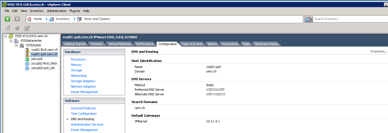 vSphere Client, Networking: DNS and Routing