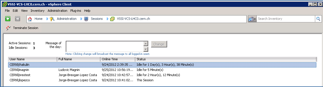 vSphere Client, Administration: opened sessions