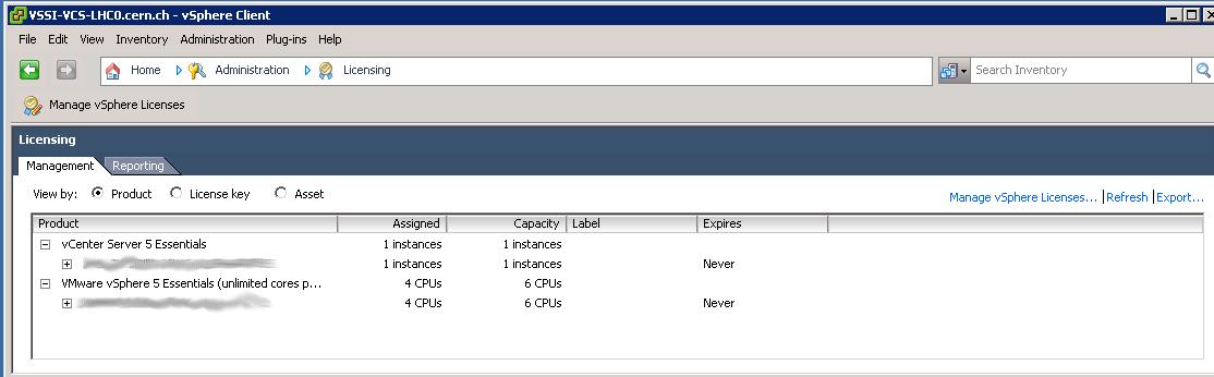 vSphere Client, Administration: Licensing