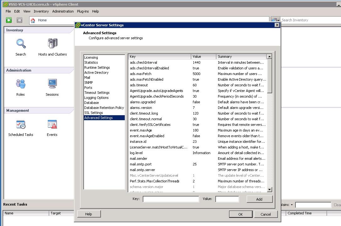 vCenter, administration: Server Settings