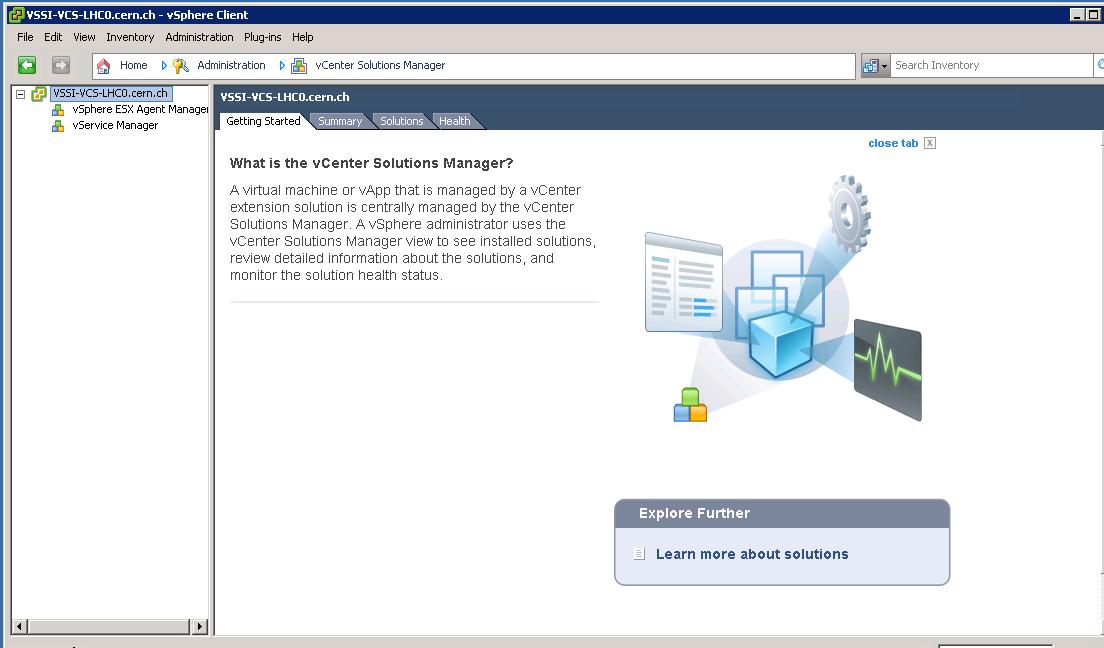 vCenter, administration: vCenter Solutions Manager