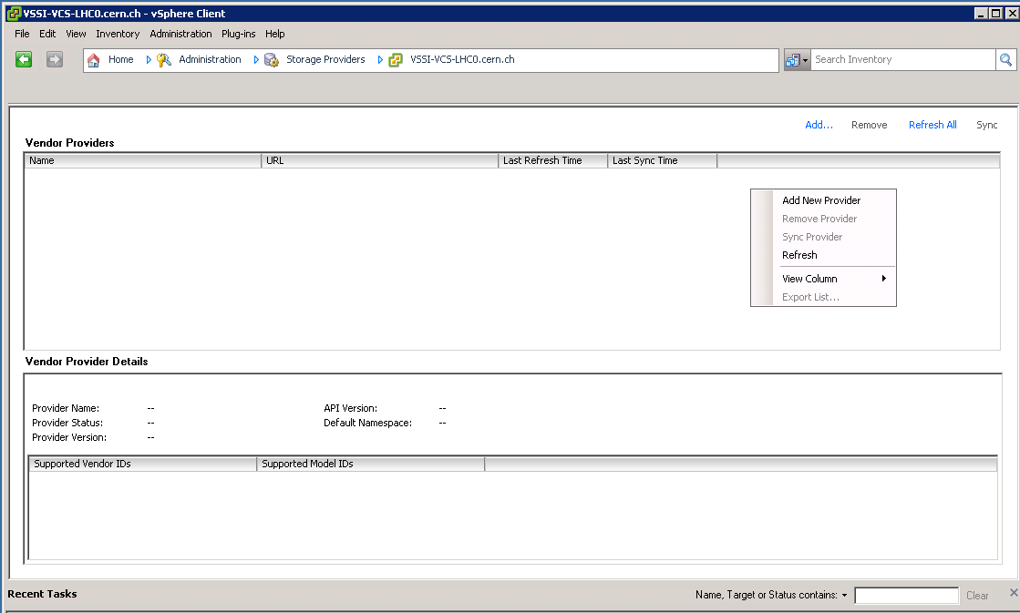 vCenter, administration: Storage Providers
