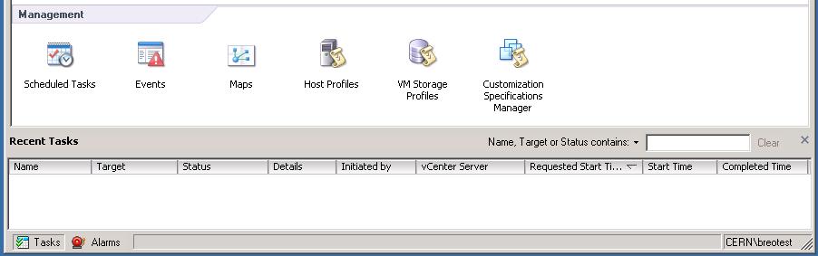vSphere Client Home: Management Icons