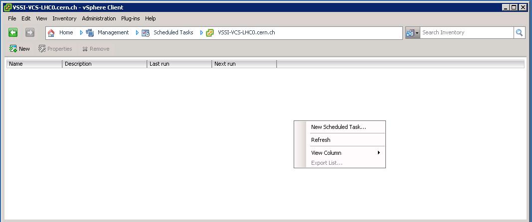 vSphere Client, management: Scheduled Tasks
