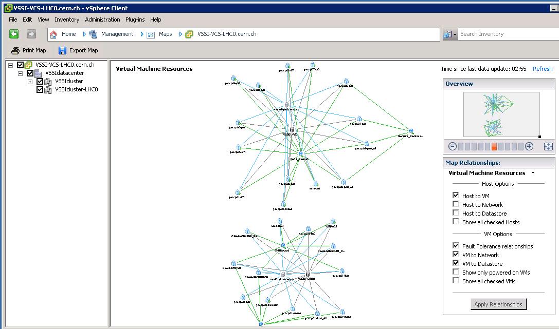 vSphere Client, management: Maps (administrative user veiw)