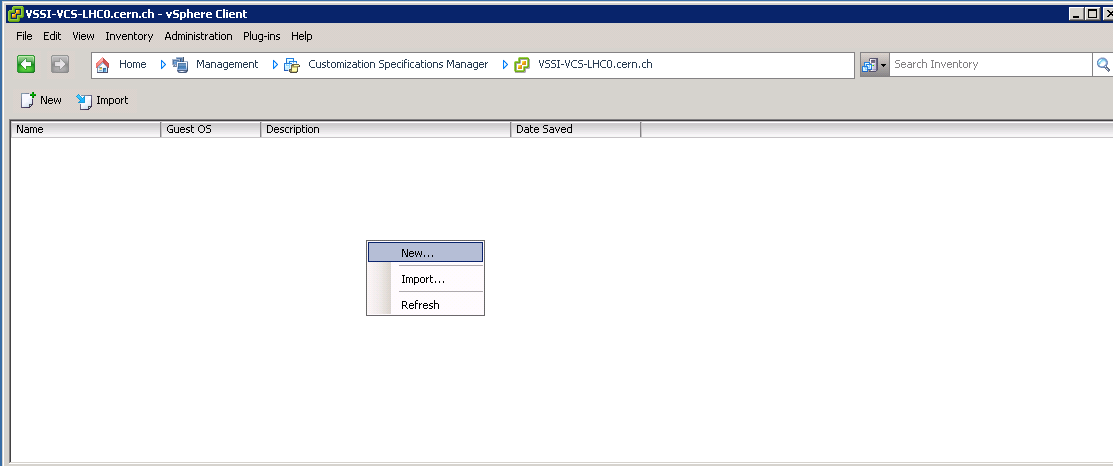 vSphere Client, management: Customization Specifications Manager
