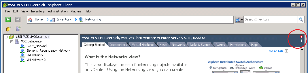 Alarm icon in vSphere client