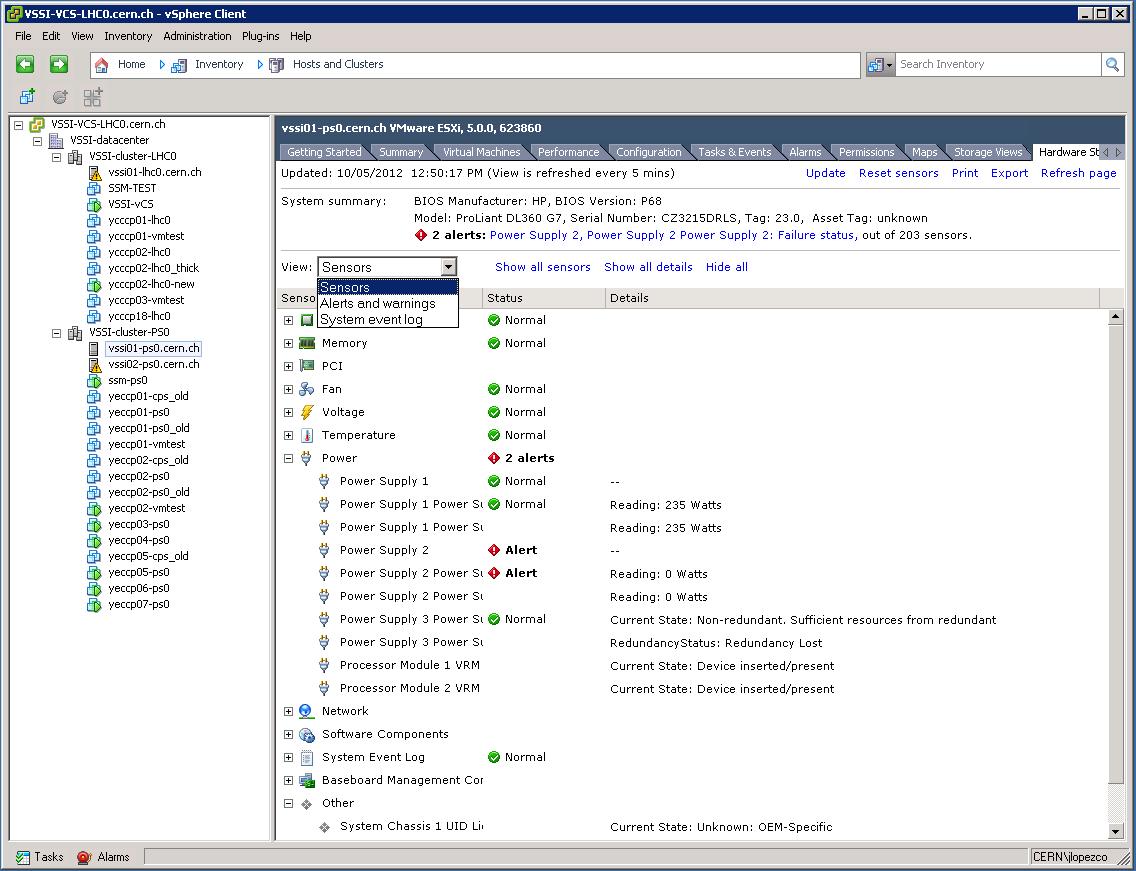vSphere: host hardware status