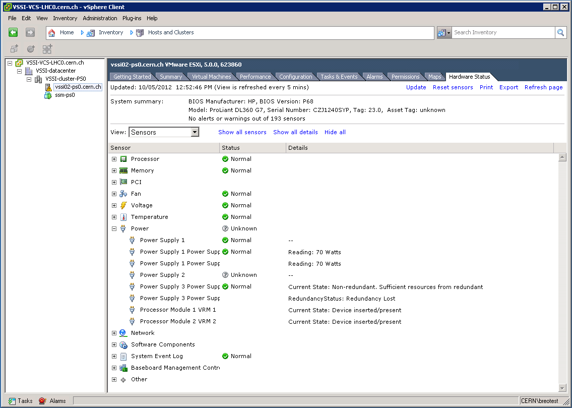 vSphere: host hardware status (same view as admin)