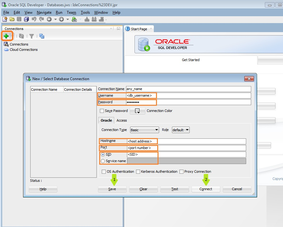 Adding new connection with Oracle sqldeveloper